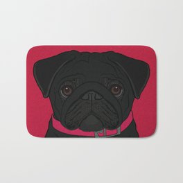 Icons of the Dog Park: Black Pug Design in Bold Colors for Pet Lovers Bath Mat