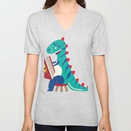 Adorable Cute Dinosaur Book Monster Reading Gift design Unisex V-Neck