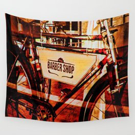 Barber shop vintage photograph of an antique bicycle Wall Tapestry