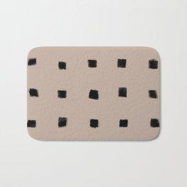 Polka Strokes Gapped - Black on Nude Bath Mat