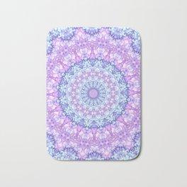 Beautiful Rose Blue Pastel Flower Mandala Bath Mat