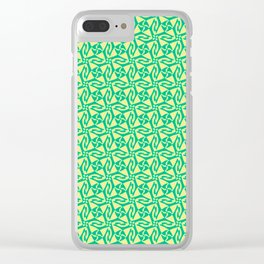 Four Corners Turquoise Mint Green Pinwheel on Butter Cream Yellow Country Design Pattern Clear iPhone Case