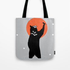 Big Bear and the Bird- Wearing Gas mask Tote Bag