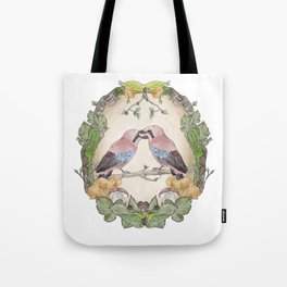 Watercolor Woodland Birds Jays in a Forest Plants , Blackberries Ivy and Fungi Mushroom Frame Tote Bag