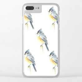 Watercolor bird pattern Clear iPhone Case