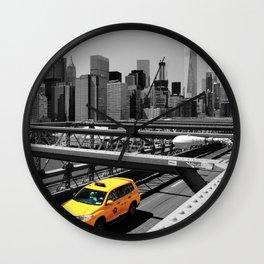 Yellow cab on Brooklyn Bridge, Manhattan, New York, USA. Wall Clock