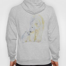 Mother and Baby Polar Bears Watercolor Hoody