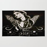 angel wings Area & Throw Rugs featuring Black (Wings/Angel) by Alexa Brooke Rutledge