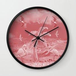 Pink Flamingos Palm Tree Wall Clock
