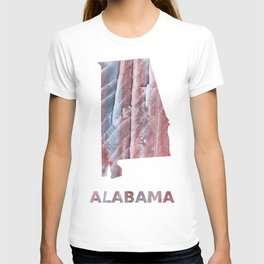 Alabama map outline Red Gray Clouds watercolor T-shirt