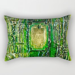 Lost in Oz Abstract Textured emerald Green with Lock Rectangular Pillow