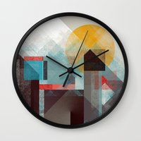 mountains Wall Clocks featuring Over mountains by Efi Tolia
