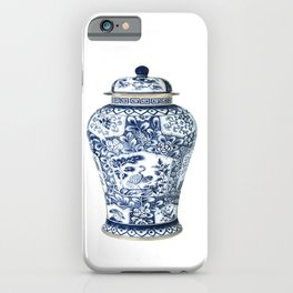 Blue & White Chinoiserie Cranes Porcelain Ginger Jar iPhone Case