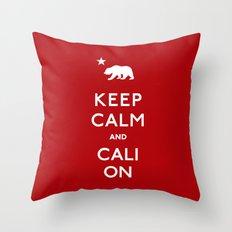 Keep Calm and Cali On Throw Pillow