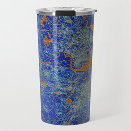 Boston Massachusetts 1893 colorful vintage old map. Orange and blue artwork Travel Mug
