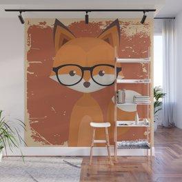 Hipster Fox Wall Mural