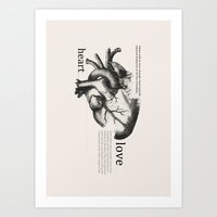 anatomical heart Art Prints featuring Anatomical Heart by jess