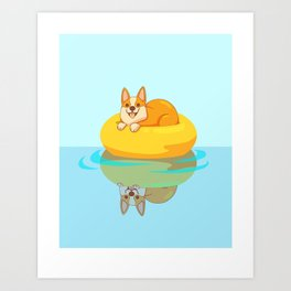 Summer Corgi Art Print