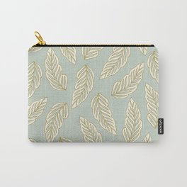 Falling feathers in pastel green palette Carry-All Pouch