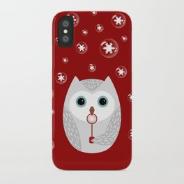 Christmas owl on red iPhone Case