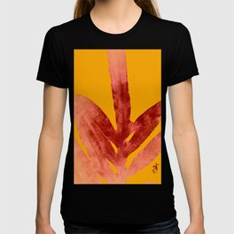 Green Fern on Red On Fire T-shirt
