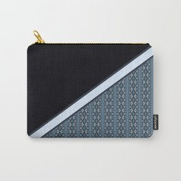 Half Dark and Half Abstract Steel Grey Geometric Striped Pattern Carry-All Pouch