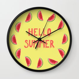 Hello Summer Watercolor Handlettered Painting - Yellow Background Wall Clock