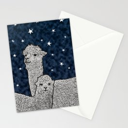 Alpacas on a starry night Stationery Cards