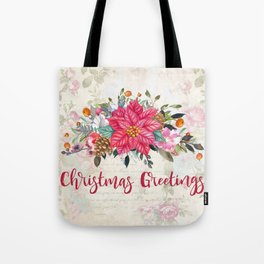 Christmas Greetings Poinsettia Bouquet Tote Bag