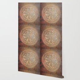Antic Chinese Coin on Distressed Metallic Background Wallpaper