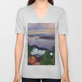 Train Smoke by Edvard Munch Unisex V-Neck