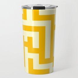 Cream Yellow and Amber Orange Labyrinth Travel Mug
