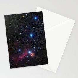 Orion's belt in the winter sky, stars Alnitak, Alnilam, Mintaka, Horsehead Nebula, Orion Nebula Stationery Cards