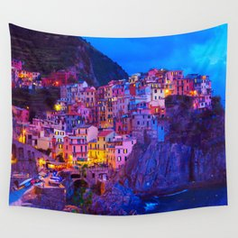 Manarola Cinque Terre Italy at Night Wall Tapestry