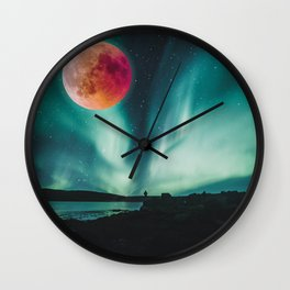Blood Moon Over Iceland Wall Clock