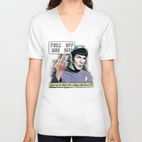 spock V-neck T-shirts featuring Spock.... by PsychoBudgie