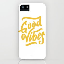 Good Vibes, white & gold lettering iPhone Case