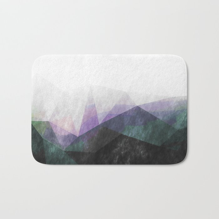 On the mountains - green watercolor - triangle pattern Bath Mat
