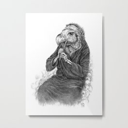 Vulture playing tin whistle Metal Print
