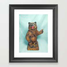 Sexy Hitchhiking Bear Statue Framed Art Print
