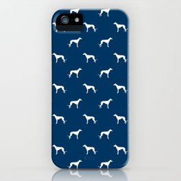 Greyhound blue and white minimal dog silhouette dog breed pattern iPhone Case