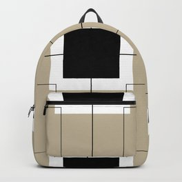 White Hairline Squares in Light Brown Backpack