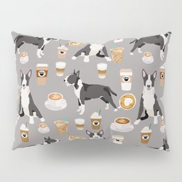 Bull Terrier coffee latte cafe dog breed cute custom pet portrait pattern Pillow Sham