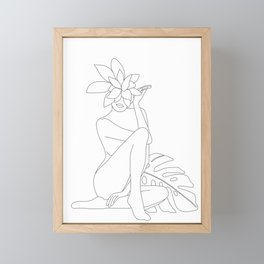 Minimal Line Art Woman with Tropical Leaves Framed Mini Art Print