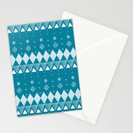 Geometric Teal, Turquoise abstract Stationery Cards