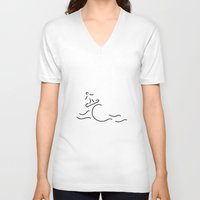 surfboard V-neck T-shirts featuring surfer surfboard by Lineamentum