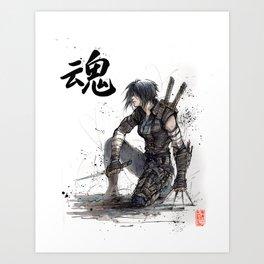 Calligraphy SOUL Ghost in the Shell Motoko Ninja Art Print