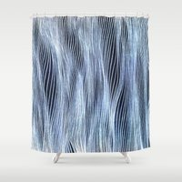 silver Shower Curtains featuring Silver Veil by Puddingshades