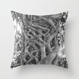Tangled strangler fig Throw Pillow