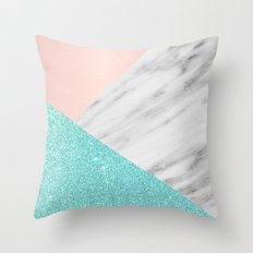 Real Italian Marble with Pink and Blue Throw Pillow